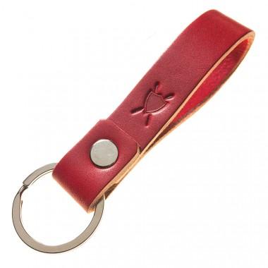 LIEBHARDT Leder Schlüsselanhänger aus pflanzlich gegerbtem Leder genietet (rot)