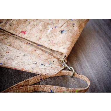 Praktische Kork Handtasche, Clutch mit farbigen Akzenten, BY COPALA