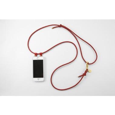 iPhone Hülle zum umhängen mit geflochtener Lederkordel, rot/gold