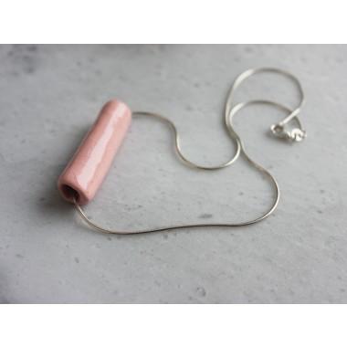 Skelini - Pink Porzellananhänger an einer Silberkette
