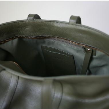 alexbender Multifunktionaler Shopper mit Reißverschluss echt Leder Oliv
