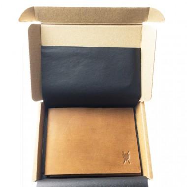 LIEBHARDT - Ganz simples schlichtes Portemonnaie aus pflanzlich gegerbtem Leder handgenäht - cardholder (Braun)