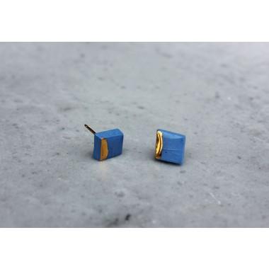 Skelini - kleine kobaltblau und gold quadratische Porzellanohrringe