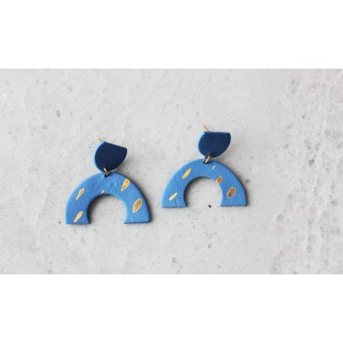 Skelini - Kobaltblaue, matte, Porzellanohrringe mit Gold Flecken
