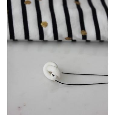 Skelini - Handgemachter Porzellan Anhänger Weiß Knoten