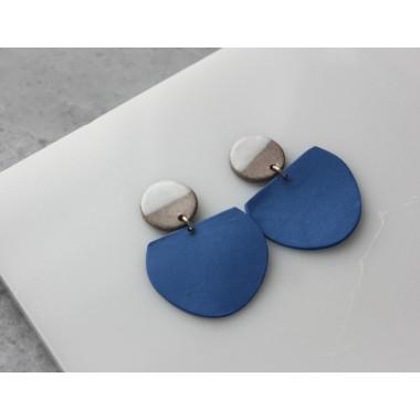 Skelini - Kobaltblau und weiß Porzellanohrringe