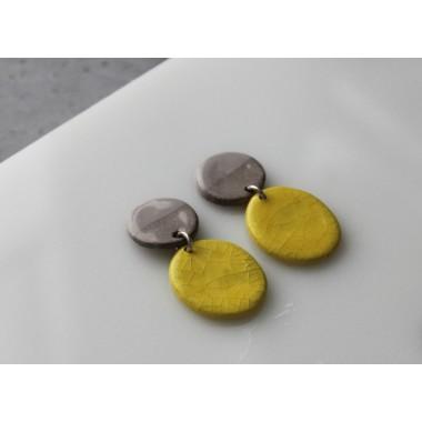 Skelini - Gelb und grau Porzellanohrringe