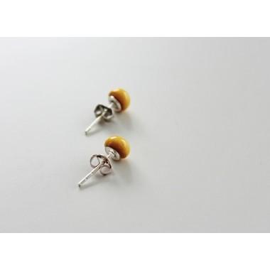 Skelini - Senfgelb Porzellan runde Ohrstecker