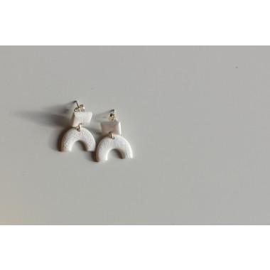 Skelini - Geometrische Porzellanohrringe weiß