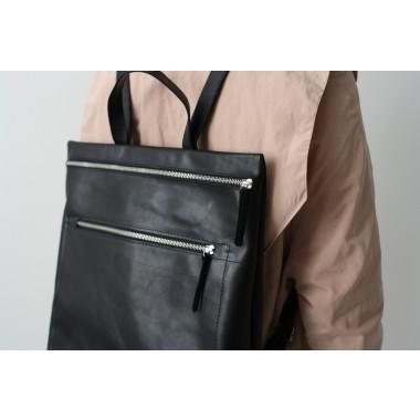 Als Vorlage verwenden Minimalistischer Rucksack echt Leder Schwarz