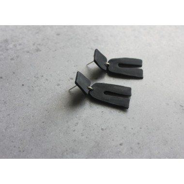 Skelini - schwarze matt Porzellanohrringe