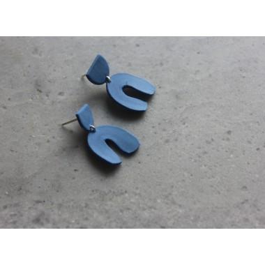 Skelini - Geometrische Porzellanohrringe, kobaltblau matt