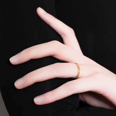 Jasmina Jovy Jewellery Decode! Mesh Ring RIDC00 fine vergoldet