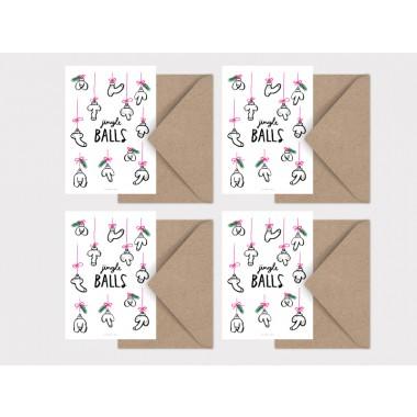 typealive / Weihnachtskarten 4er Set / Jingle Balls
