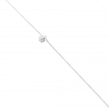 Jonathan Radetz Kette Cube, Silber 925, Sterlingsilber, Länge 43 cm, Würfel 4mm, Handmade in Germany