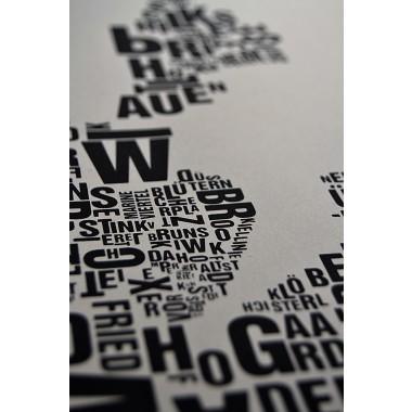 Buchstabenort Kiel Stadtteile-Poster Typografie