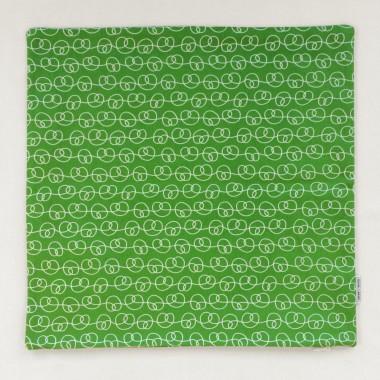 Print now - Riot later ● Kissen Brezel grün, Stoffsiebdruck
