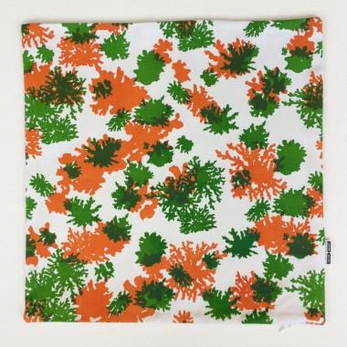 Print now - Riot later ● Kissen Koralle grün/orange, Stoffsiebdruck