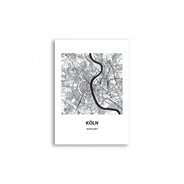 Stadtliebe® | Köln - Karte black&white Poster verschiedene Größen DIN A2