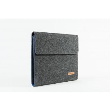 RÅVARE Tablet Organizer für große Tablets ≤12.9″ mit Schreibblock, iPad, Microsoft Surface, Samsung in grau-blau [KORA L]