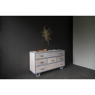 FraaiBerlin – Kommode Lili im Industrial Chic White Wash aus Bauholz