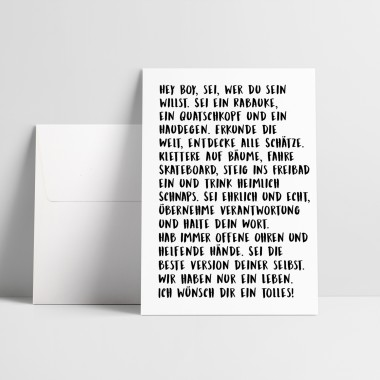 "Love is the new black – Grußkarte ""Hey Boy"""