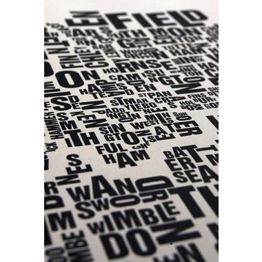 Buchstabenort London Stadtteile-Poster Typografie