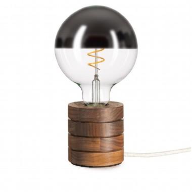 Tischleuchte Fafoo in Nussbaum mit stylischer Edison Mirror LED Kopfspiegellampe und nur 5 Watt
