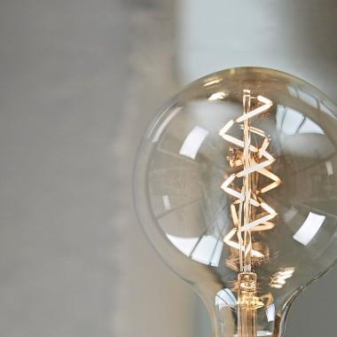 """Lichtliebe Tischleuchte """"Rekoo"""" in steingrau und schwarz-weiß meliert inkl. LED Vintage Glühbirne im Edison Style mit nur 1,5 Watt"""