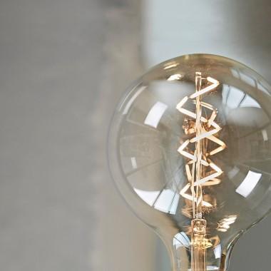 """Lichtliebe Tischleuchte """"Fafoo"""" in steingrau und schwarz-weiß inkl. LED Vintage Glühbirne im Edison Style mit nur 1,5 Watt"""