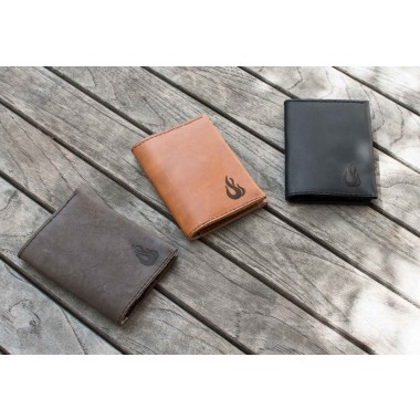 Leather Wallet - Geldbörse aus dunkelbraunem Leder - Portemonnaie - Burning Love