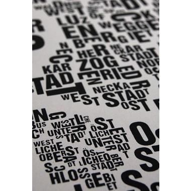 Buchstabenort Mannheim Stadtteile-Poster Typografie