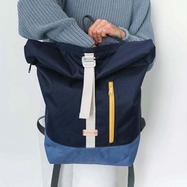 MULINU – Erweiterterbarer Rucksack UNIQUE ALBERT 2 Blau Rauchblau Gelb