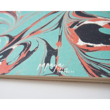Notizheft A5 Marmor mint koralle // Papaya paper products
