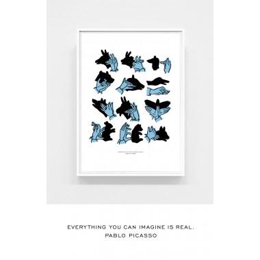 Shadow Puppets blue -- 50 x 70 cm Kinderzimmer Poster