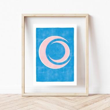 """Paperlandscape   Kunstdruck """"Mond abstrakt rosa blau""""   minimalistisch   verschiedene Größen"""