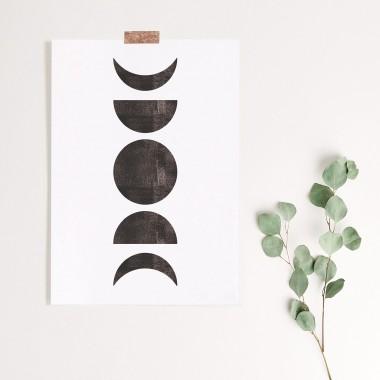 Paperlandscape | Kunstdruck | Mondphasen Schwarz Weiß | verschiedene Größen