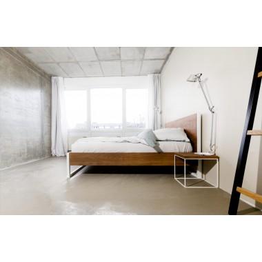 N51E12 - Loft Vintage Industrial Bett - Anthrazit - Braun