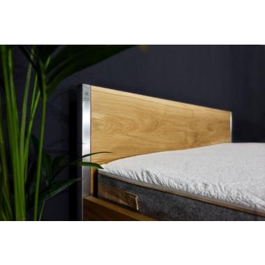 Nature Oak Bett aus Massivholz Eiche und Edelstahl