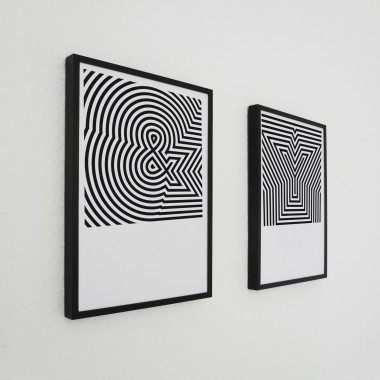 OpArt ABC Serie Buchstaben Print in DIN A3, schwarz-weiß