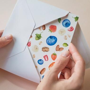 """Grußkarte """"Obst Mischmasch"""" mit Umschlag / Kamila Sidelnikov"""