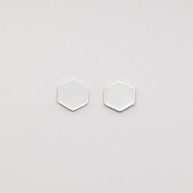 fejn jewelry - Ohrstecker 'hexagon stud shiny'