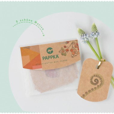PAPPKA® Geschenkanhänger –Liebevoll illustrierte Anhänger aus Karton mit pflanzlichen Motiven