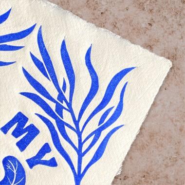 Juliana Fischer - Plants Are My Friends - Linoldruck, ultramarinblau, DIN A4