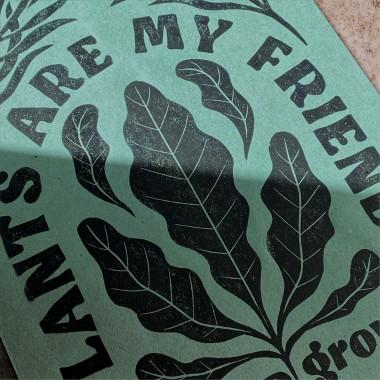 Juliana Fischer - Plants Are My Friends - Linoldruck, Eukalyptusgrün, DIN A4