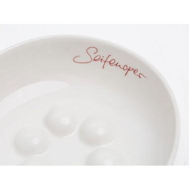 Seifenschale Porzellan mit Schriftzug in rot oder gold