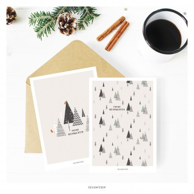 designfeder   Weihnachts-Postkarten Frohe Weihnachten