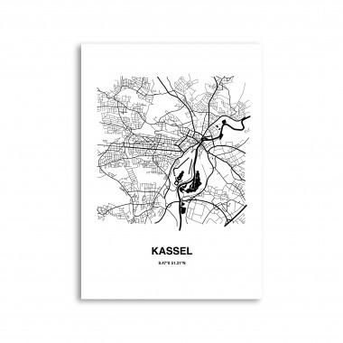 Stadtliebe® | Kassel - Karte black&white Kunstdruck A2