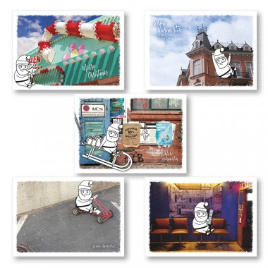 "Frau Schnobel Grafik XMAS Weihnachtspostkarten ""Halteverbot"" 5er Set"