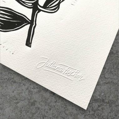 Juliana Fischer - Protea - Linolschnitt - schwarz - 22,8 x 30,6 cm